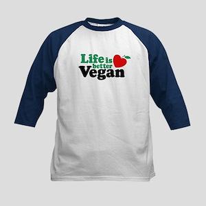 Life is Better Vegan Kids Baseball Jersey