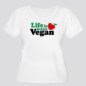 Life is Better Vegan Women's Plus Size Scoop Neck