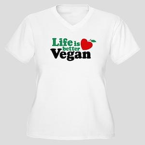 Life is Better Vegan Women's Plus Size V-Neck T-Sh