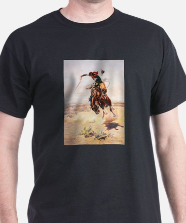 A Bad Hoss by Charles Marion Russell T-Shirt