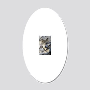 Wolf 20x12 Oval Wall Decal
