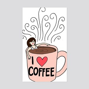 I love coffee Sticker (Rectangle)