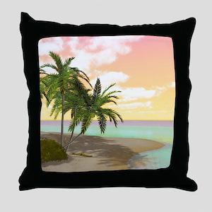 Dreamy Desert Island Throw Pillow