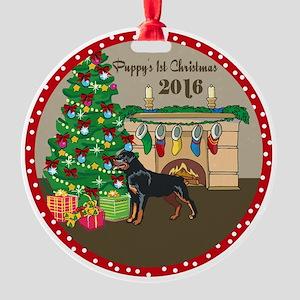 2016 Rottweiler 1St Christmas Round Ornament
