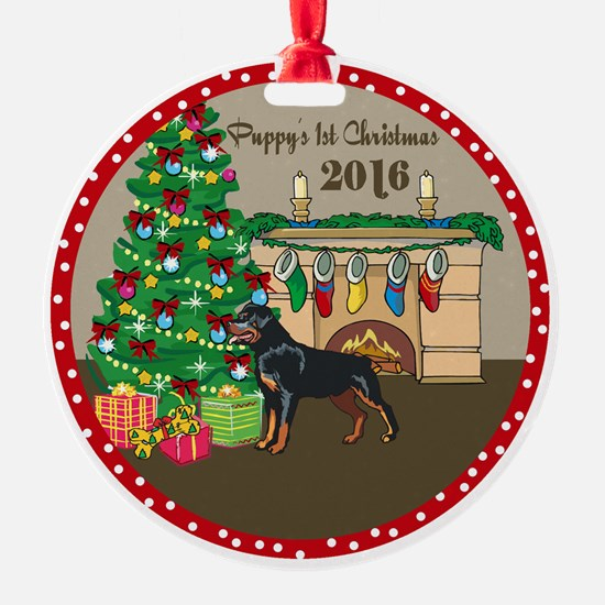 2016 Rottweiler 1St Christmas Ornament