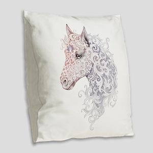 Horse Head Tattoo Burlap Throw Pillow