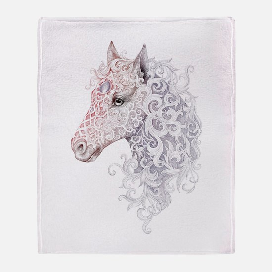 Horse Head Tattoo Throw Blanket