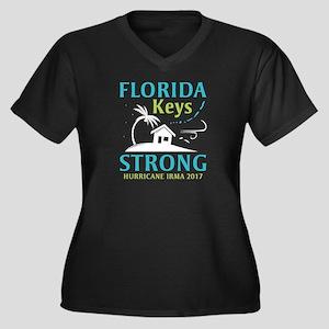 Florida Keys Strong Women's Plus Size V-Neck Dark