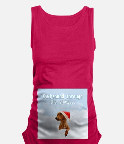 Dachshund Through The Snow Maternity Tank Top