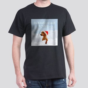 Dachshund Through The Snow Dark T-Shirt