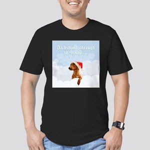 Dachshund Through The Snow Men's Fitted T-Shirt (d