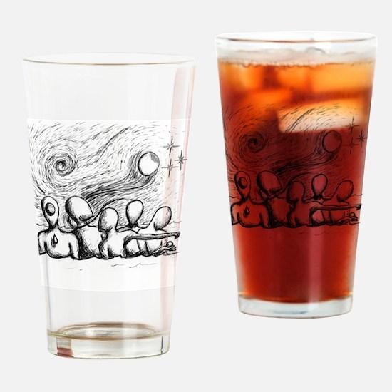 5 Lost Wandering Men Illustration Drinking Glass