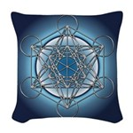 Metatrons Cube Woven Throw Pillow