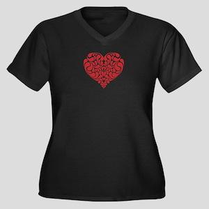 Real Heart Women's Plus Size V-Neck Dark T-Shirt