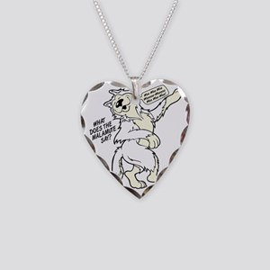 What Does the Malamute Say! Necklace Heart Charm