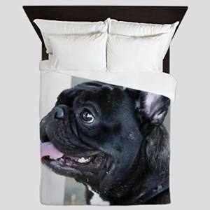 Black French Bulldog  Queen Duvet