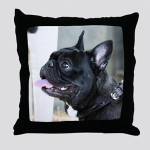 Black French Bulldog  Throw Pillow