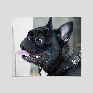 Black French Bulldog  Throw Blanket