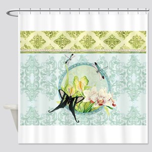 Botanical Butterfly Orchid Anthuriu Shower Curtain