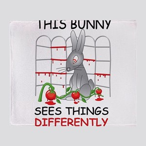 This Bunny Sees Things Differently Throw Blanket