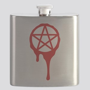 pentagram, pagan, blood, wicca Flask