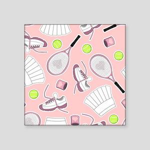 Tennis Girl Pattern Pink Background Sticker