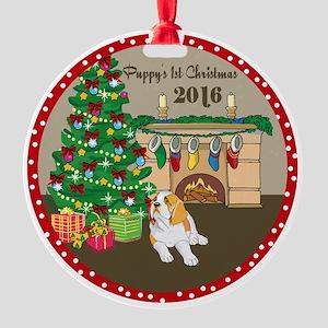 2016 St Bernard 1St Christmas Round Ornament