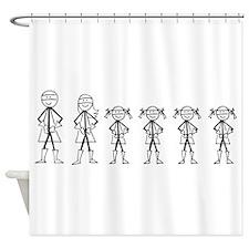 Super Family 4 Girls Shower Curtain