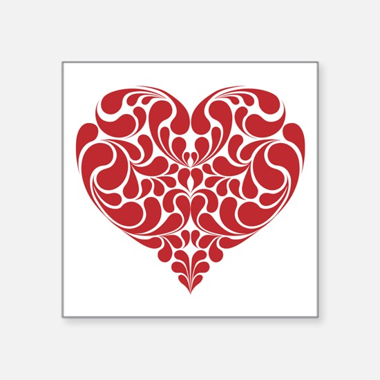 "Real Heart Square Sticker 3"" x 3"""