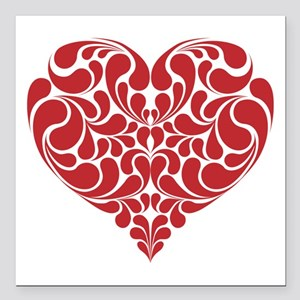 "Real Heart Square Car Magnet 3"" x 3"""