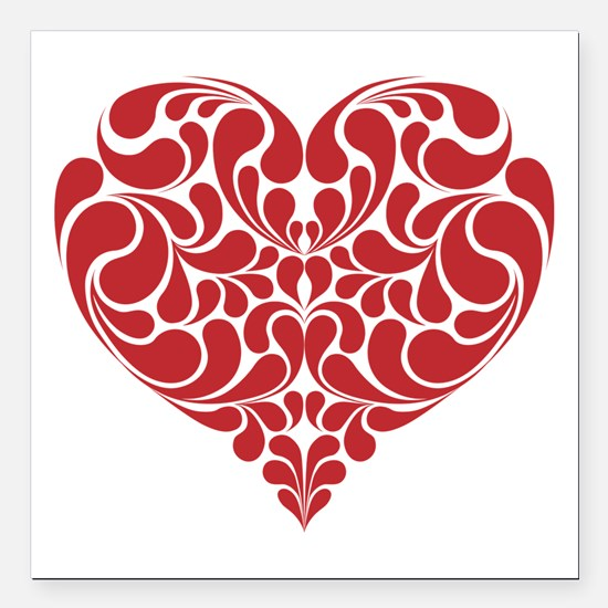 """Real Heart Square Car Magnet 3"""" x 3"""""""