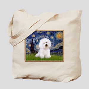 Starry Night Bichon Tote Bag
