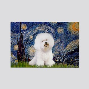 Starry Night Bichon Rectangle Magnet (100 pack)
