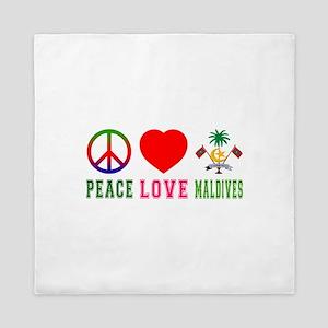 Peace Love Maldives Queen Duvet