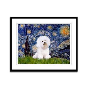Starry Night Bichon Framed Panel Print