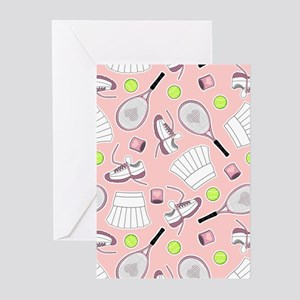 Tennis Girl Pattern Pink Background Greeting Cards