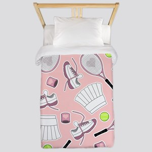Tennis Girl Pattern Pink Background Twin Duvet
