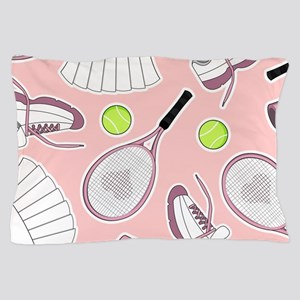 Tennis Girl Pattern Pink Background Pillow Case