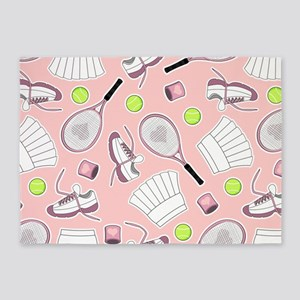 Tennis Girl Pattern Pink Background 5'x7'Area Rug