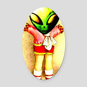 Alien hugs Oval Car Magnet