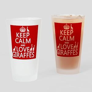 Keep Calm and Love Giraffes Drinking Glass