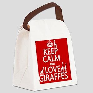 Keep Calm and Love Giraffes Canvas Lunch Bag