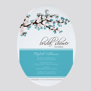1-bridal-shower_blossom_aqua Oval Ornament