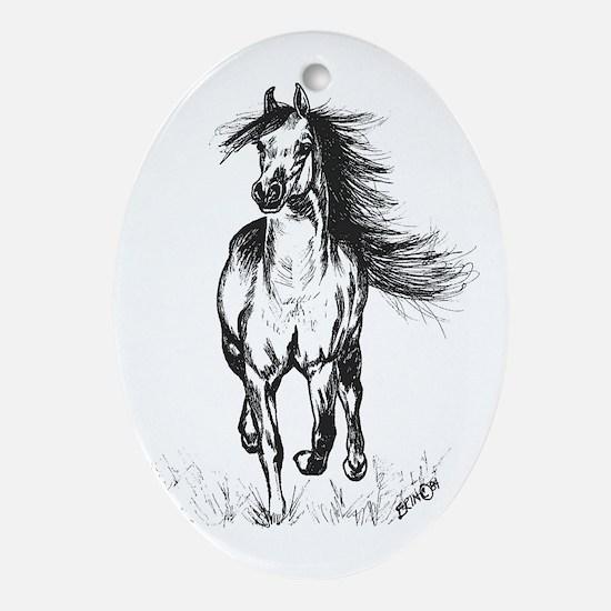 Runner Arabian Horse Ornament (Oval)