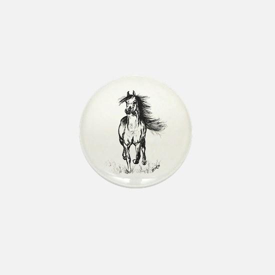 Runner Arabian Horse Mini Button