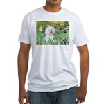 Irises and Bichon Fitted T-Shirt