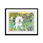 Irises and Bichon Framed Panel Print