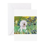 Irises and Bichon Greeting Cards (Pk of 10)