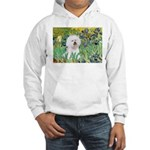 Irises and Bichon Hooded Sweatshirt