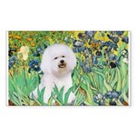 Irises and Bichon Sticker (Rectangle)